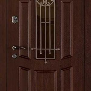 Дверь со стеклом и ковкой DR232
